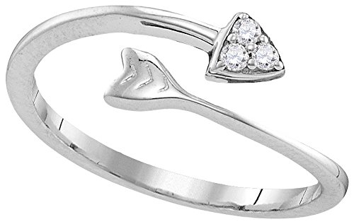 Sterling Silver Womens Round Natural Diamond Arrow Band Fashion Ring (.50 cttw.) - Arrow Mia