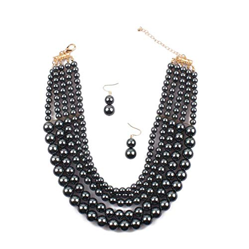 Lanue Women Elegant Jewelry Set Multi Strand 5 Layer Pearl Bead Cluster Collar Bib Choker Necklace and Earrings Suit (Hematite) ()
