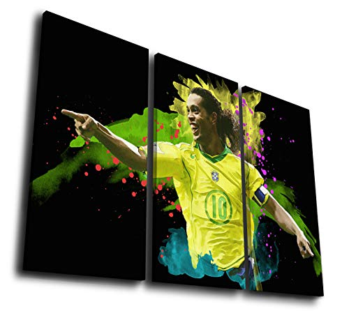 Mixi Art 3 Pcs Ronaldinho Brazil Printed Canvas Wall Art Picture Home Décor, Contemporary Artwork, Split Canvases (with Framed, Size 1: 8x16inx3pcs.)