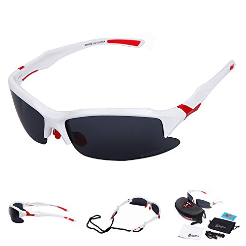 WOLFBIKE UV400 Protection Sports Sunglasses for Cycling Fishing Golf - Cycling White Glasses
