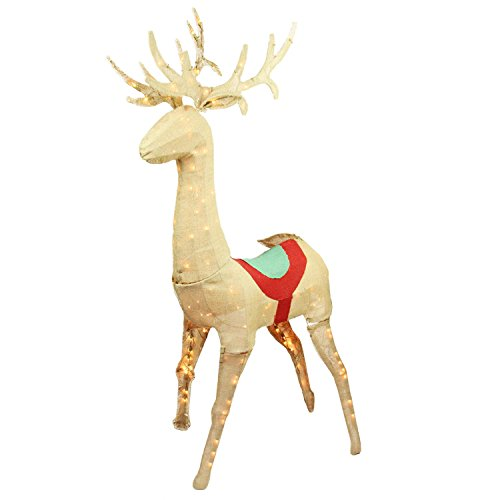 Northlight Seasonal Pre-Lit Rustic Burlap Standing Reindeer Christmas Yard Art Decoration, 60'' by Northlight Seasonal