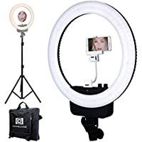 "Nanguang LED Ring Light 16"" Bi-color Dimmable Ring Light and Stand,Mirror, Cellphone Holder for Outdoor Shooting, Live Streaming,Make Up,Youtube Video"
