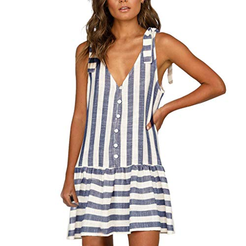 Women Mini Dress Striped Printed Button V-Neck Sleeveless Casual Above Knee Daily Fashion Dresses White by FRana Women Dress (Image #1)