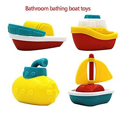 F-blue 4pcs/Set Baby Bath Boats Bathtub Pool Baby Bath Boats Play Water Fun Toys Children Early Learning Educational Toy: Home & Kitchen