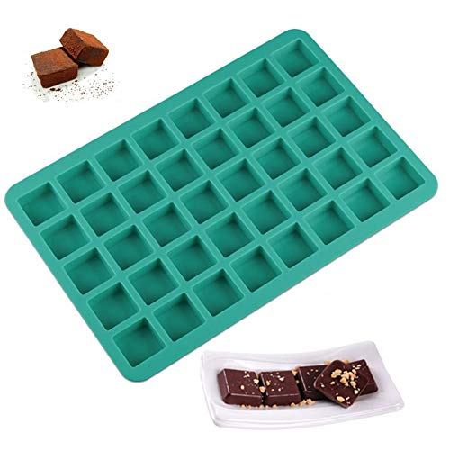 (Mity rain 40-Cavity Square Caramel Candy Silicone Moulds,Ice Cube Tray Moulds,Chocolate Truffles Mold,Hard Candy Mould Ganache Pralines Gummy Jelly Mould(blue))