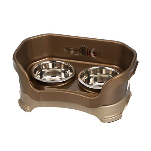 (Neater Feeder Deluxe Small Dog (Bronze) - The Mess Proof Elevated Bowls No Slip Non Tip Double Diner Stainless Steel Food Dish with)