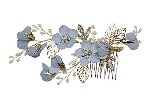 (Vintage Blue Flower Crystal Pearl Side Combs Bridal Headpiece Wedding Hair Accessories)