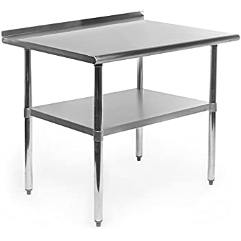 Gridmann NSF Stainless Steel Commercial Kitchen Prep U0026 Work Table W/  Backsplash   36 In. X 24 In.