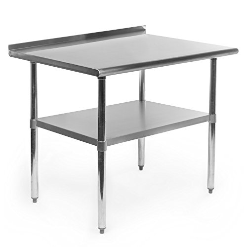 GRIDMANN NSF Stainless Steel Commercial Kitchen Prep & Work Table w/Backsplash - 36 in. x 24 - Table Backsplash