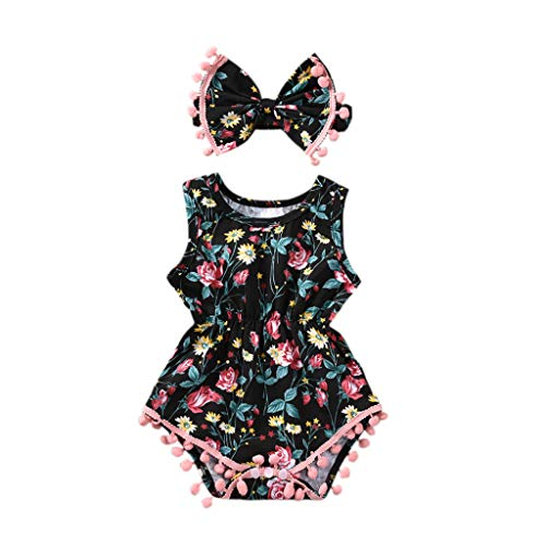 Baywell Baby Girl Romper Outfit Set, Sleeveless Floral Printed Bow-Knot Headband 2 PCs (S/0-3M/66, B)]()