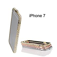 iPhone 7 Case Bumper Frame Crystals Diamond Sparkle Protective Cover Shiny Jeweled Fashionable Design Suitable for iPhone6 6S Gold 4.7 inch