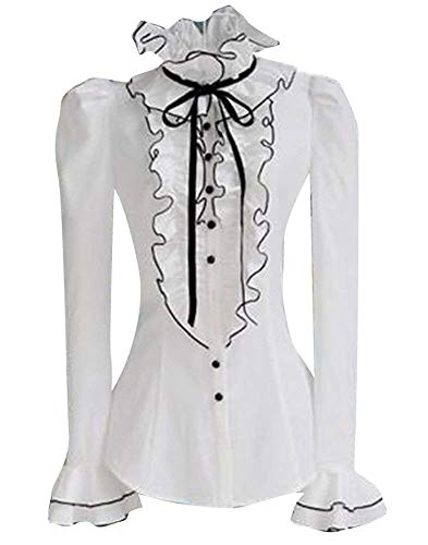 Tops Automne Col Manches Blanc Jeune Elgante Chic Longues Dcontract Femme Fit Chemise avec Mode Debout Printemps Assez Blouse Shirts Slim Volants Haut Office Costume qv0n1E