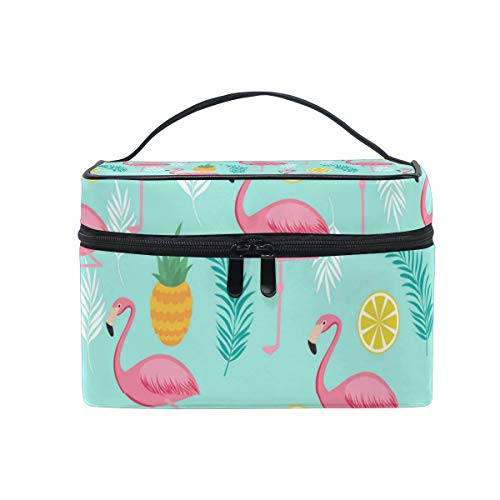 Travel Makeup Cosmetic Bags Flamingo Pineapples And LeavesToiletry Bags Makeup Suitcase For Women -