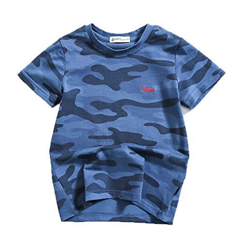 Zernar Boys Camouflage T-Shirts,Active Tees for Kids Children Ralgan Baseball Tops(Blue,7-8 Years)