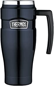 Thermos King Stainless Steel 16 Ounce Travel Mug with Handle, Midnight Blue, SK1000MBTRI4, 16 ounce