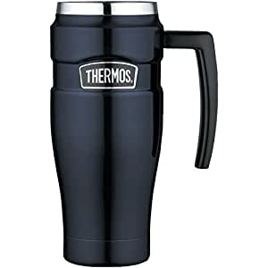 Thermos Stainless King 16 Ounce Travel Mug with Handle, Midnight Blue