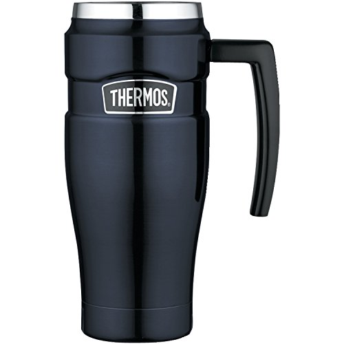 Thermos Stainless King 16 Ounce Travel Mug with Handle, Midnight (Nissan Thermos Mug)