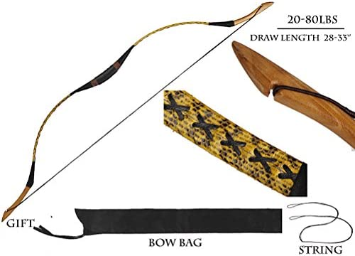 PG1ARCHERY Traditional Hungarian Longbow Handmade Snakeskin Horsebow Recurve Bow Archery Left /& Right Handed for Adults Beginners Youth 20-80lbs