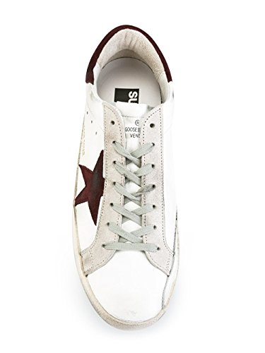 GOLDEN GOOSE HOMME G29MS590F53 BLANC/BORDEAUX CUIR BASKETS