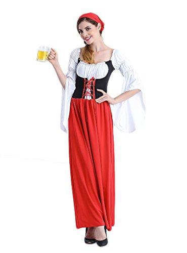 Renaissance Barmaid Costume (Bikini Factory Red Oktoberfest Beer Girl Bar Maid Cosplay Costume with Headband (XL))