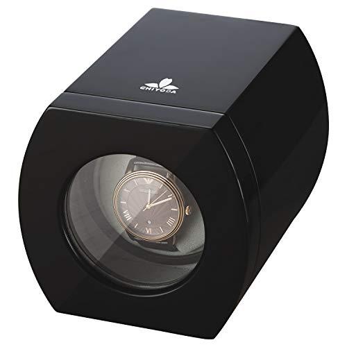 CHIYODA Automatic Single Wooden Watch Winder with Quiet Motor - Piano Black (Heiden Watch Box)