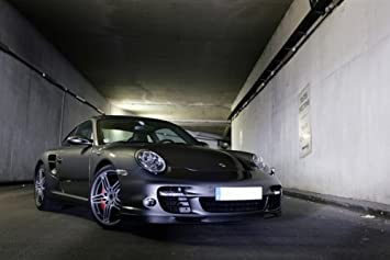 Porsche 911 997 Turbo Silver Right Front HD Poster Super Car Jumbo 48 X 32 Inch