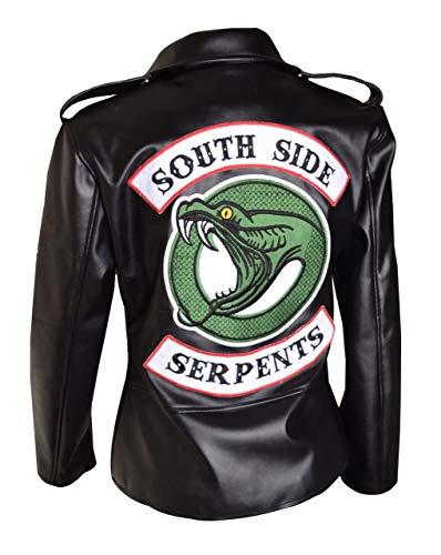 Arrivals Riverdale Southside Serpent Black/Red Women's Cosplay Leather Jacket (S, Black)