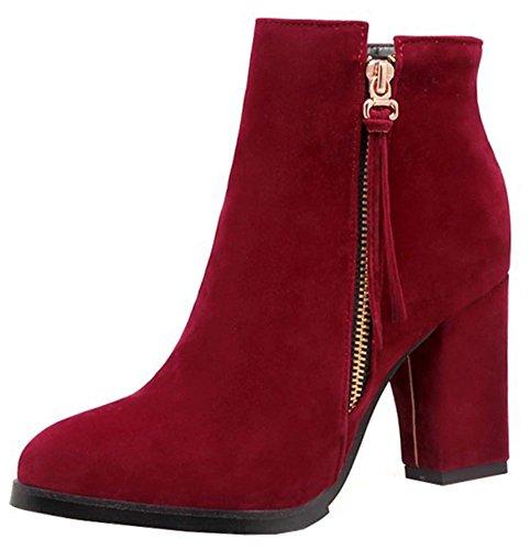 Blockabsatz Stiefel Rot Hohe Trendy Wildleder Reißverschluss Seitlicher Faux Knöchelhohe Easemax Zehe Runde Damen qnXaZxZwA