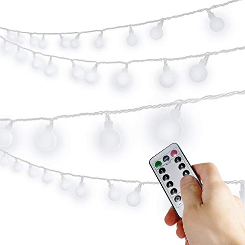[Remote & Timer] 100 LED 33ft Ball LED Globe String Lights 8 Modes UL Listed WithRemotefor Indoor/Outdoor Commercial Decor, Gardens, Patio, Wedding, Bedroom, Christmas Party Decoration, Pure White  ()