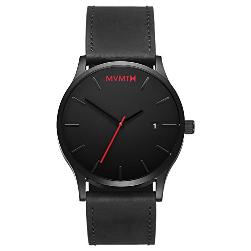 Mens Elegance Black Dial - MVMT Classic Watches | 45 MM Men's Analog Minimalist Watch | Black Leather