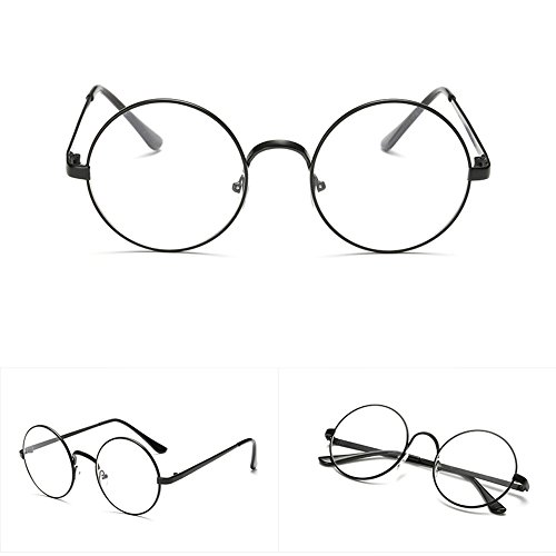 Fang sky Men Women Eyeglass Round Metal Frame Glasses Retro Spectacles Clear Lens Nerd Eyewear - Face Frames Shape Glass For