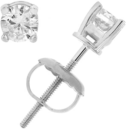 I1-I2 Certified Diamond Stud Earrings 14K White Gold Round 4 Prong Screw Backs