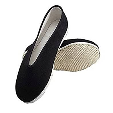 Traditional Chinese Handmade Martial Kung Fu Shoes Slip On Cotton Cloth Flat Sole (US 6)