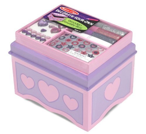 Melissa & Doug Decorate-Your-Own Wooden Jewelry Box With Sparkling Gems and Stickers
