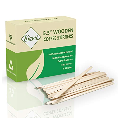 Coffee Stirrers Sticks, Natural Birch Wood 500 Count, 5.5', BPA Free Eco-Friendly Beverage Stirrers (5.5Inches / 500PC)