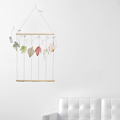Wood Picture Photo Frame Collage Artworks Prints Multi Pictures Organizer Hanging Display Frames for Wall Decor + 12 Wooden Clips + 2 No Trace Nails + 6 Leaf Postcard (40CM Batten and String Light) by VORCOOL (Image #4)