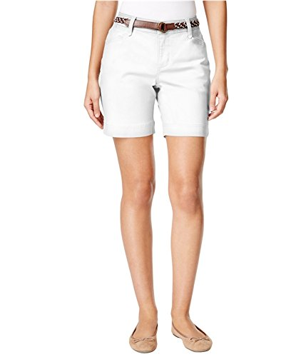 (Lee Womens Petite Georgia Belted Casual Denim Shorts white 16P)