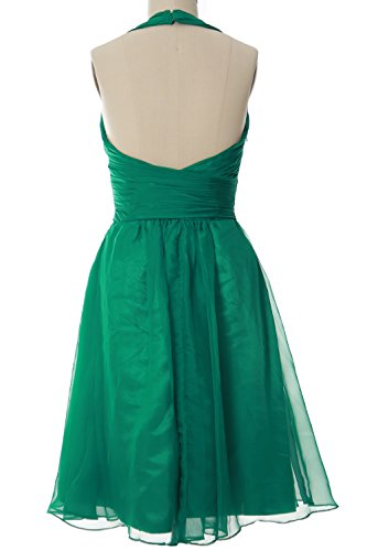 MACloth Elegant Halter Cocktail Dress Short Bridesmaid Dress Wedding Party Gown Verde