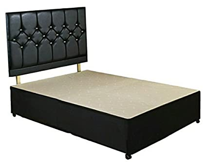 pretty nice 1ed32 7e541 King Size Diamond Divan Bed Base with Faux leather Headboard ...