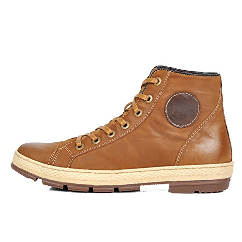 Hugelucky SCRENE Men's Leather Lace-Up Retro Design Casual Boots