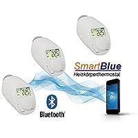 SmartBlue Heizköperthermostat Bluetooth 3-er Set, Programmierung über Smartphone oder Tablet