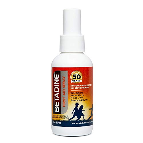 - Betadine First Aid Spray 3 oz Povidone Iodine Antiseptic with No-Sting Promise (Packaging May Vary)