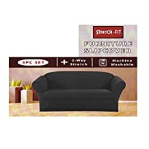 Homemusthaves STRETCH FORM FIT - 3 Pc. Slipcovers Set, Couch/Sofa + Loveseat + Arm Chair Covers - GREY