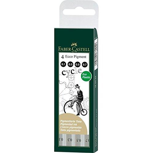 Faber-Castell - Pennarello da disegno, spessore punta: 0,1/0,3/0,5/0,7 mm, confezione da 4 pezzi, colore: nero 166004