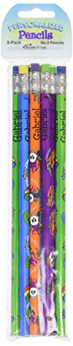 NameStar Personalized #2 Pencils, Snake/Heart and Skull Designs, Pack of 8 - Gabriel (96082) - Snake Pencil