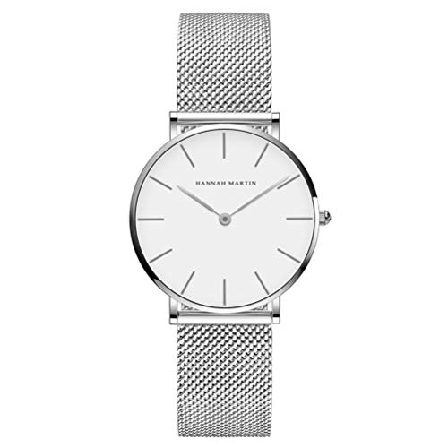 (Dovkumo Women's Ultra Thin Quartz Stainless Steel Mesh Band Wrist Watch (White Dial,Silver-Tone Band))