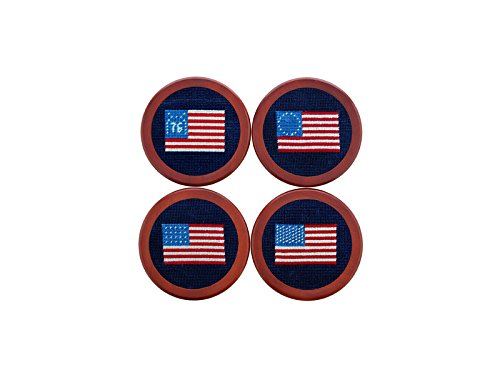 Smathers & Branson Needlepoint Coaster Set American Flag/Dark Navy