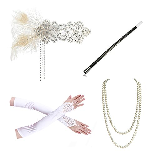 Pearl Beaded Fingerless Gloves (Kathyclassic 1920s accessories Headband Necklace Gloves Cigarette Holder Flapper Costume accessories Set For Women(C))