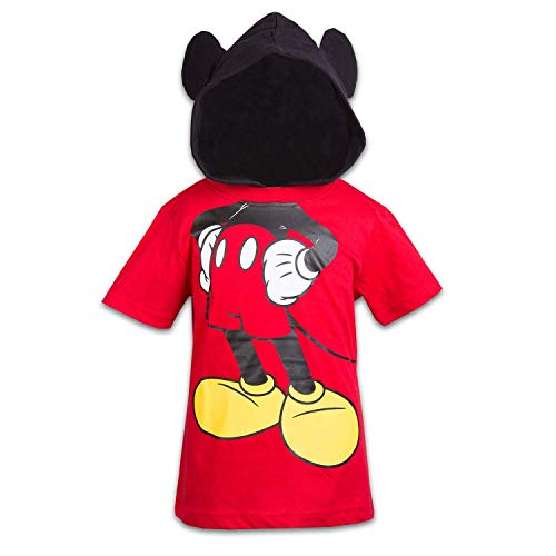 Disney Mickey Mouse Boys Hooded Shirt Mickey Friends Costume Tee (Red, 3T) -