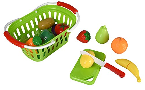 Playkidz: Super Durable Healthy Fruit and Vegetables Basket Pretend Play Kitchen Food Educational Playset with Toy Knife, Cutting board (30 Pieces of fruit and vegetable toys)